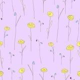 花纹花样无缝的黄色 与风格化玫瑰的紫色背景 免版税库存图片