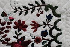 花纹花样特写镜头在门诺派中的严紧派的被子的 免版税库存图片