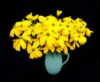 花绿色朝向黄金菊花瓶 库存图片