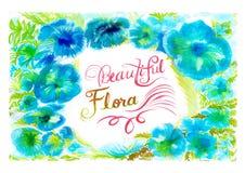 花背景美好的植物群水彩绘画 免版税库存照片