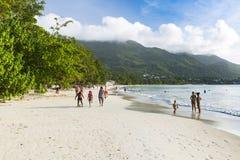 花花公子Vallon海滩, Mahe,塞舌尔群岛,社论 免版税库存照片