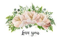 花花束传染媒介设计元素 桃子,桃红色玫瑰牡丹, wa 向量例证