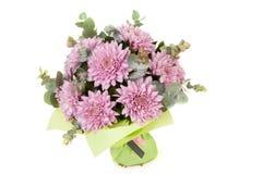 花花束在白色背景的 免版税库存照片