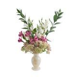 花花束在花瓶的由石华制成 免版税图库摄影