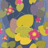 花莲花模式粉红色无缝的向量 免版税库存图片