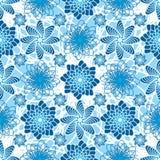 花蓝色对称无缝的样式 免版税库存图片