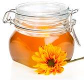 花蜂蜜瓶子 库存照片