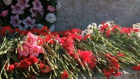 花被安置在一座纪念碑为胜利天世界大战 影视素材