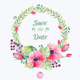 花被设置的向量 与叶子和花,画的水彩的五颜六色的花卉收藏 图库摄影