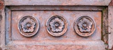 花设计石头雕刻 库存图片