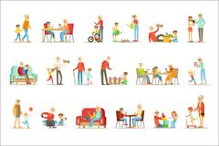花费时间的祖父和祖母使用与孙、小男孩和女孩有他们的祖父母的被设置 库存例证