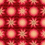 花转动风车红色明亮的无缝的样式 免版税图库摄影