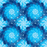 花转动风车蓝色金刚石形状无缝的样式 库存照片