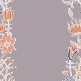 花边界,与花的无缝的纹理 用途当贺卡 免版税图库摄影