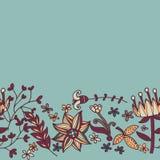 花边界,与花的无缝的纹理 用途当贺卡 免版税库存照片