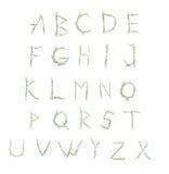 花铃兰字母表在白色背景的 免版税库存照片