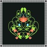 花饰 绿色漩涡和花框架 库存图片