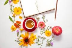 花,一个杯子用清凉茶,在白色背景的一个笔记本 库存图片