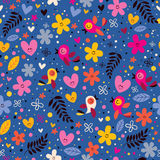 花,心脏,鸟爱自然无缝的样式 库存图片