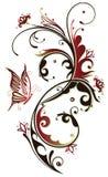 花,蝴蝶,葡萄酒 免版税库存图片