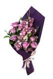 花 兰花和玫瑰 在一白色backgroun的紫罗兰 图库摄影