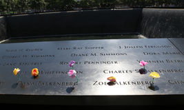 花离开在全国9月11日纪念品在爆心投影 免版税库存照片