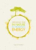 花费时间本质上是医治用的能量 Eco圈子在纸背景的海报概念 向量例证