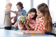 花费时间的活泼的同学在生物教室 免版税库存图片