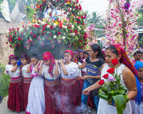 花&棕榈节日在Panchimalco,萨尔瓦多 免版税库存图片