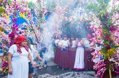 花&棕榈节日在Panchimalco,萨尔瓦多 图库摄影