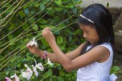 花&棕榈节日在Panchimalco,萨尔瓦多 库存照片