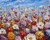 花绘画,美好的领域在帆布开花 库存照片