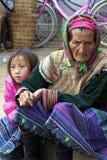 花hmong少数民族人越南 免版税库存图片