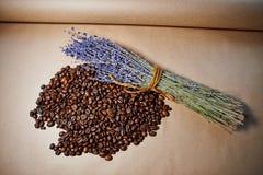 芳香咖啡豆用淡紫色 免版税库存照片