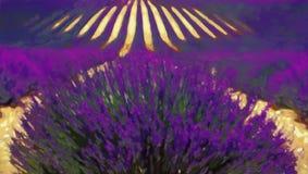 芳香域草本横向淡紫色工厂 森林横向油画河 库存图片