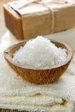 芳香温泉设置与自然海运盐 免版税库存图片