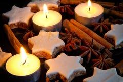 芳香烘烤圣诞节曲奇饼姜饼香料 免版税图库摄影