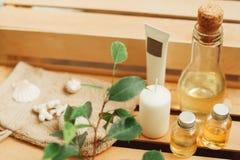 芳香疗法被设置在温泉沙龙特写镜头 免版税图库摄影