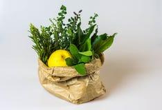 芳香草本和柠檬在袋子 免版税库存照片