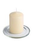 芳香蜡烛查出香草白色 免版税库存图片