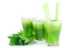 芹菜和三块玻璃用芹菜汁 库存图片