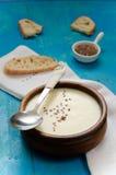 芹菜根汤纯汁浓汤与亚麻籽的 库存图片