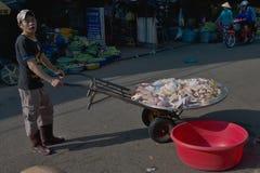 芹苴市街道的肉推销员 免版税库存图片