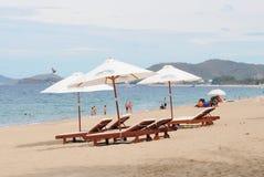 芽庄市海滩看法在越南 免版税图库摄影