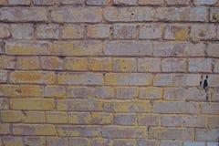 苍白粉红棕色和黄色被绘的砖墙 库存照片