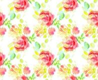 苍白颜色摘要玫瑰色花无缝的样式 免版税库存图片