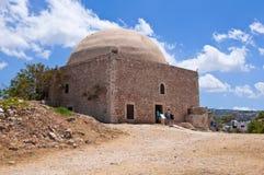 苏丹在Fortezza堡垒的上面的易卜拉欣清真寺 克利特希腊 免版税库存图片