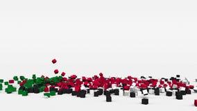 苏丹的旗子从3d立方体创造了在慢动作 影视素材