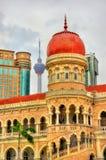 苏丹阿卜杜勒萨玛德大厦在吉隆坡 修造,在1897年它现在安置信息部办公室 马来西亚 免版税图库摄影