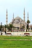 苏丹阿哈迈德清真寺和游人在伊斯坦布尔,土耳其 免版税图库摄影
